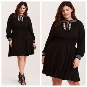 Torrid Black Boho Embroidere Soft Challis Dress 2X